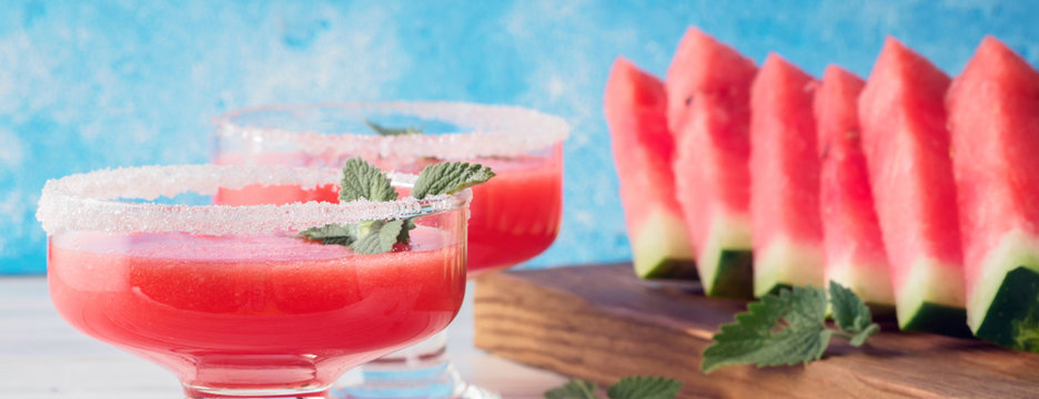 Drink smoothies from red watermelon in glass dishes