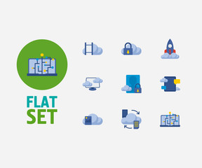 Cloud service icons set. Secure account and cloud service icons with virtual machine, machine learning and blog storage. Set of media for web app logo UI design.
