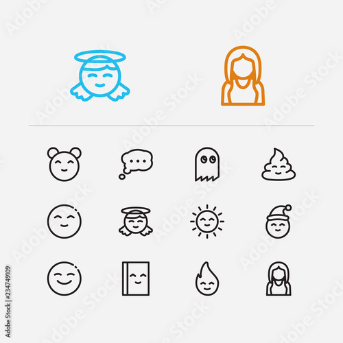 Emoji icons  Set of cute poop, anime kawaii and bubble emoji vector