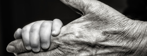 Childs hand and old wrinkled skin palm finger Concept idea of love family protecting children and elderly people grandparent friendship togetherness relationship Two generation Black and white.