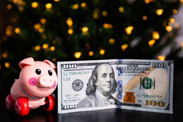 toy pig in New Year's lights with a 100 dollar bill