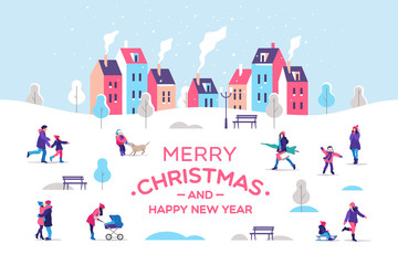 Merry Christmas and a Happy New Year greeting card. Snowy street. Urban landscape with people. Vector illustration.