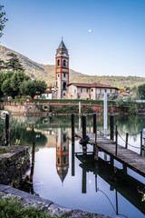 ticino, old church on the canal near Caslano and ponte tresa, between italy and switzerland