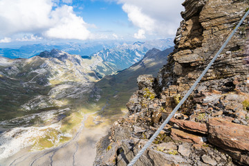 climbing on the top of europe, this is called Schilthorn, Switzerland