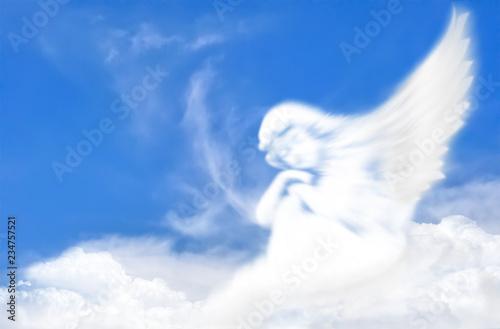 Wall mural Angel of cloud in the sky