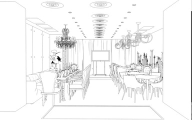 restaurant, 3D illustration, sketch, outline