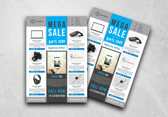 Retail Flyer Layout with Blue Accents