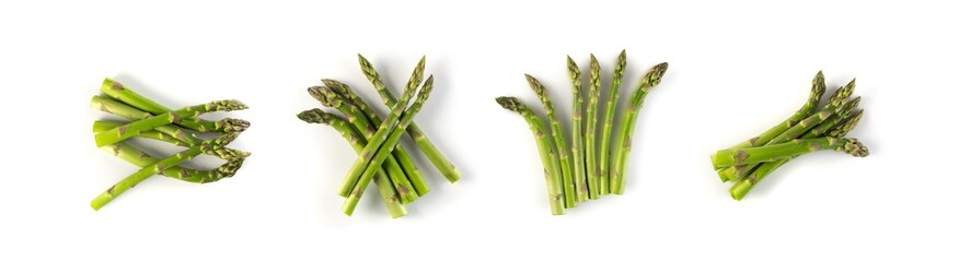 Bunch of Raw Garden Asparagus with Shadow Isolated