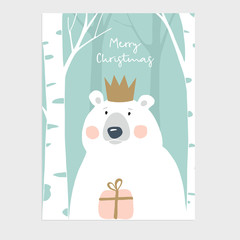 Cute Merry Christmas greeting card, invitation. Polar bear with crown holding gift box. Birch wood. Hand drawn kids nordic design. Vector illustration background.
