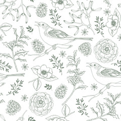 Elegant hand drawn Christmas seamless pattern with birds, holly berries, mistletoe, roses and pine cones. Winter vintage engraving design. Vector illustration background.