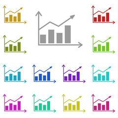 Graph, chart icon in multi color. Simple glyph vector of web set for UI and UX, website or mobile application