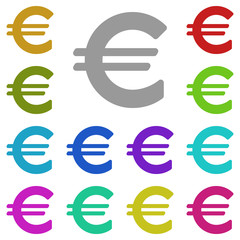 Euro sign icon in multi color. Simple glyph vector of web set for UI and UX, website or mobile application