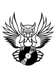 vinyl dj platte auflegen musik party feiern spaß disko club farbig kontur eule tattoo uhu fliegen vogel cool design federn raubvogel nacht schön clipart logo