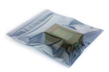 ESD bag with a product on white, an antistatic plastic bag used for electronic devices professional packing
