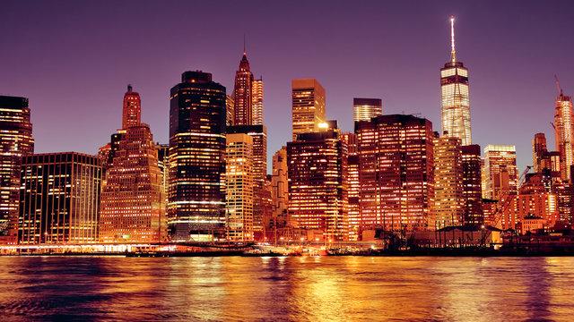 New York City Manhattan downtown skyline at night