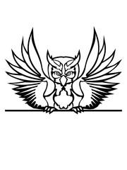 text mauer strich schild schreiben name farbig kontur eule tattoo uhu fliegen vogel cool design federn raubvogel nacht schön clipart logo