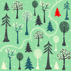 a path going in the middle of a winter forest - hand drawn flat vector illustration