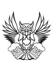 saufen bier trinken durst oktoberfest party feiern alkohol betrunken farbig kontur eule tattoo uhu fliegen vogel cool design federn raubvogel nacht schön clipart logo