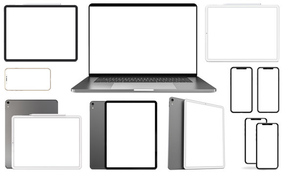 Tablets, smartphones and laptop isolated on a white background. Template, mockup.