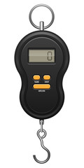Black electronic device with orange buttons, metal hook and ring. Digit zero on screen display. Steelyard balance for weighing. Determination of weight. EPS10 vector illustration on wite background.