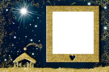 Nativity Scene, Christmas photo frame greeting card.