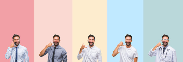 Collage of handsome man over colorful stripes isolated background smiling doing phone gesture with hand and fingers like talking on the telephone. Communicating concepts.