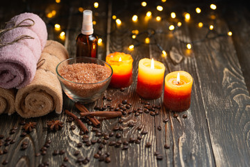 Spa and wellness center with bath salt and towels and candles. aromatherapy, skin care and health concept Fototapete