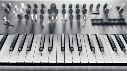 metallic analog synthesizer, close-up view