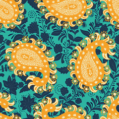 Foto op Canvas Botanisch Vector seamless oriental pattern. Paisley and flowers. Colorful design for textile, fabric, invitation, web, cover, wrapping paper