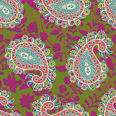 Vector seamless oriental pattern. Paisley and flowers. Colorful design for textile, fabric, invitation, web, cover, wrapping paper