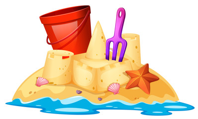 Isolated sand castle on white background