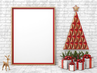 Blank picture frame Christmas decoration and gifts with ribbon bows 3D