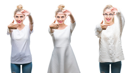 Collage of young beautiful blonde woman over white isolated background smiling making frame with hands and fingers with happy face. Creativity and photography concept.
