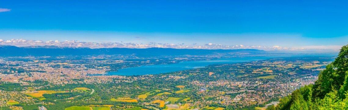 Aerial view of Geneva and Geneva lake from Mont Saleve, Switzerland
