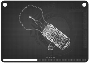 3d model of the lamp on a black
