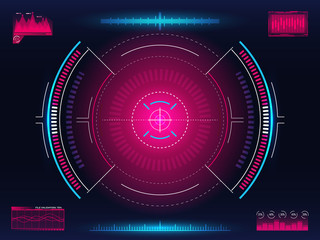 Aim system. Modern aiming concept. Futuristic HUD interface with bright infographic elements. Weapon crosshair template. Game element design. Glowing target with digital data. Vector illustration