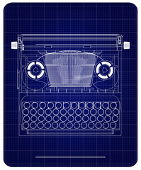 3d model of typewriter on a blue