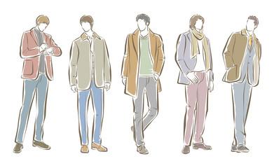 男性のファッションイラスト