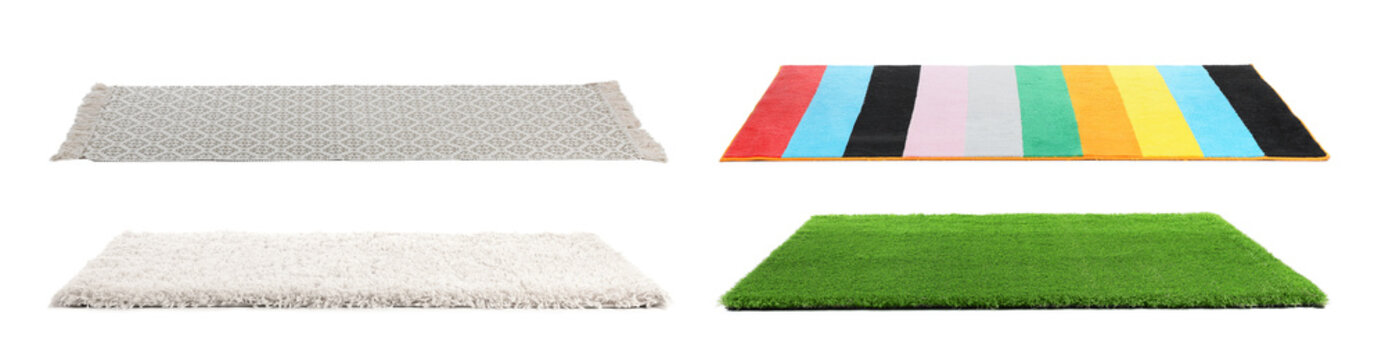 Set with different carpets on white background