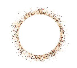 Frame made of mixed quinoa seeds and space for text on white background, top view