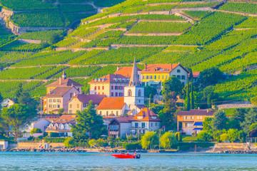 Villette village situated on bank of Geneva lake in Switzerland