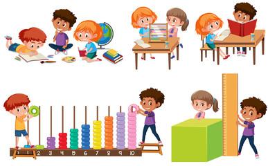 Set of children learning math
