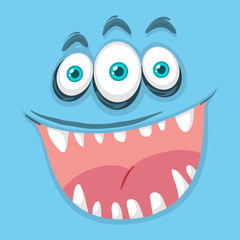 Blue three eyed monster face