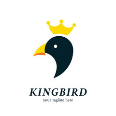 King penguin or bird head logo icon symbol with crown
