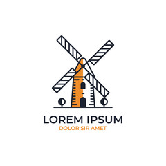 Windmill logo icon outline line monoline rounded color fill style