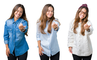 Collage of beautiful young woman over isolated background Beckoning come here gesture with hand inviting happy and smiling