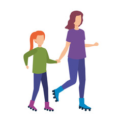 mother with daughter in skates
