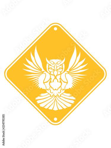 Gelb Schild Vorsicht Warnung Achtung Hinweis Zone Gefahr Federn Eule