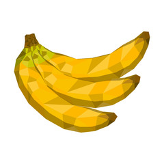 Isolated geometric bananas. Low Poly. Vector illustration design