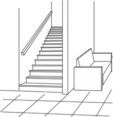stairs house illustration